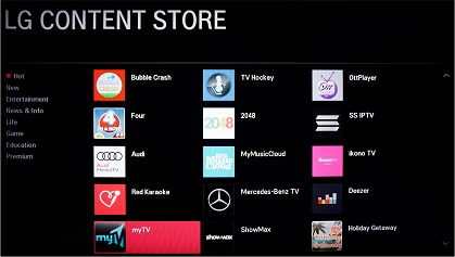 LG LH576D Smart TV apps