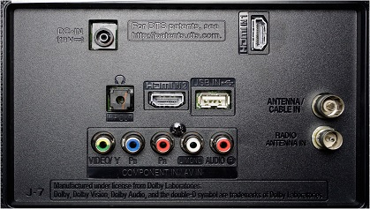 LG LJ523D back inputs
