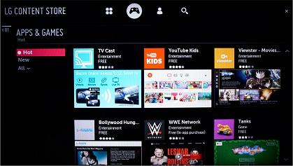 LG LJ573D Smart TV apps